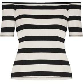 Splendid Off-the-shoulder Striped Cotton-jersey Top