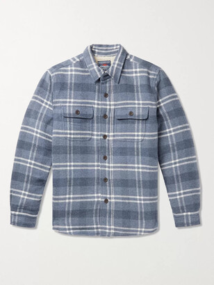 Faherty Faux Shearling-Lined Checked Cotton and Wool-Blend Overshirt - Men - Blue