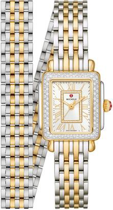 Michele Deco Mini Two-Tone 18k Gold Diamond Watch