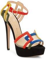 Charlotte Olympia Geometric Suede Platform Sandals
