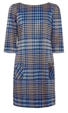Dorothy Perkins Womens Blue Houndstooth Shift Dress, Blue