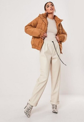 Missguided Tan Hooded Puffer Jacket