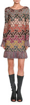 Missoni Long-Sleeve Lurex®; Polka-Dot Shift Dress with Fringe, Multicolor