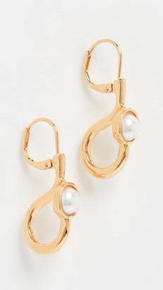 Kenneth Jay Lane Imitation Pearl Cabochon Center Drop Earrings