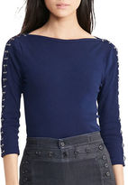 Lauren Ralph Lauren Petite Lace-Up Boatneck Top