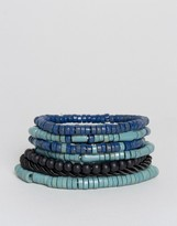 Asos Beaded Bracelet Pack In Blue