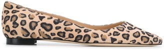 Manolo Blahnik Pointed Leopard Print Ballerina Shoes