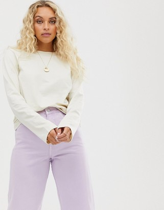 Weekday long sleeve t shirt in off white-Cream