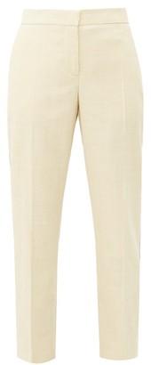 Burberry Addison Side Stripe Linen Straight Leg Trousers - Womens - Beige
