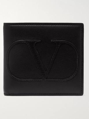 Valentino Logo-Appliqued Leather Billfold Wallet