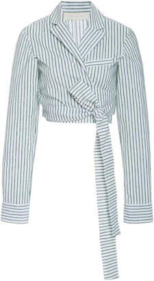 By Any Other Name Velvet-Striped Cotton Wrap Top
