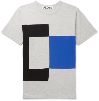 Aloye Colour-Block Melange Cotton-Jersey T-Shirt