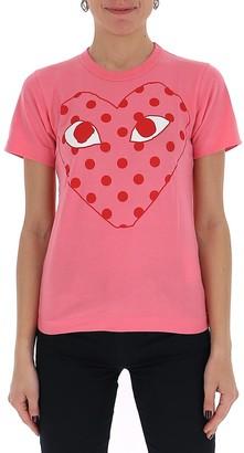 Comme des Garcons Heart Print Polka Dot T-Shirt