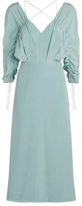Victoria Beckham Crossover Neck Midi Dress
