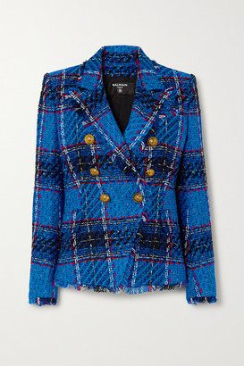 Balmain Double-breasted Frayed Checked Tweed Blazer - Bright blue