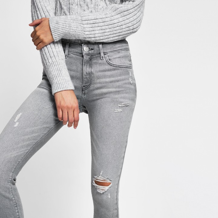 Thumbnail for your product : River Island Womens Grey ripped mid rise skinny jeans
