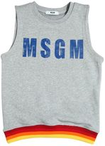 MSGM Logo Print Sleeveless Cotton Sweatshirt