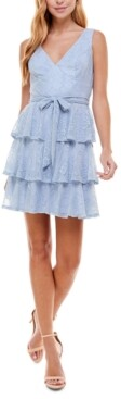 City Studios Juniors' Tiered Lace Fit & Flare Dress
