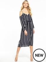 Warehouse Button Through Striped Cold Shoulder Dress
