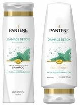 Pantene Shampoo & Conditioner Set, Damage Detox with Mosa Mint Oil, 12 Ounce Each