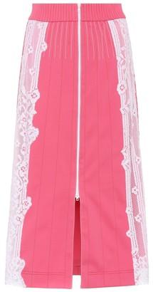 Valentino lace-trimmed midi skirt