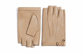 YISEVEN Women Fingerless Lambskin Leather Gloves Thin Unlined for Motorcycle Driving Winter Work Protection with Prime Quality Leather gift Brown X-Large