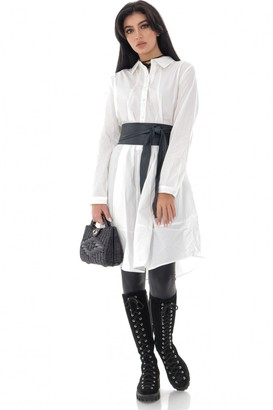 AIMELIA Oversized White cotton shirt dress with a button-down front