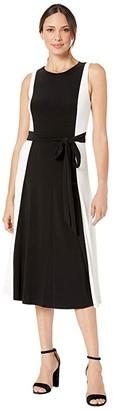 Lauren Ralph Lauren Mid Weight Matte Jersey Murila Sleeveless Day Dress (Black/Colonial Cream) Women's Clothing