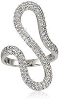 Jardin Silver-Tone Cubic Zirconia Hairpin Curve Ring, Size 7, 3 CTTW
