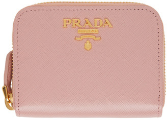 Prada Pink Saffiano Mini Coin Wallet