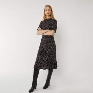 Warehouse SPOT TIERED MIDI FLIPPY DRESS