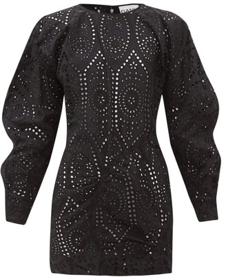 Ganni Broderie-anglaise Cotton Mini Dress - Black