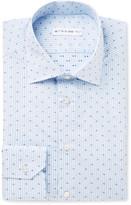 Etro - Blue Mercurino Slim-fit Printed Striped Cotton-poplin Shirt