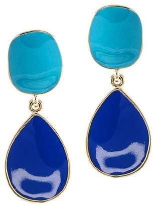 Kenneth Jay Lane Turquoise And Lapis Enamel Drop Pierced Or Clip Earrings
