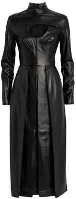 MATÉRIEL Faux Leather Cut-Out Pleated Dress