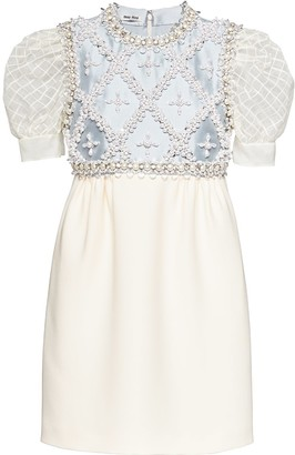 Miu Miu Embellished-Panel Mini Dress