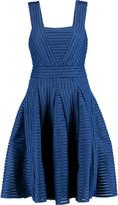 Maje Pleated ribbed-knit dress
