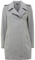 Mint Velvet Wool Blend Zip Biker Coat, Light Grey