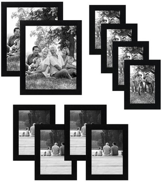 Americanflat Picture Frames With Easel Backs, Black, 10-Piece Set