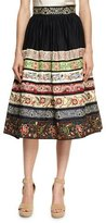 Alice + Olivia Birdie Embroidered Full Midi Skirt, Black Pattern
