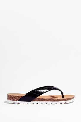 Nasty Gal Womens Croc It Out Faux Leather Flat Sandals - Black
