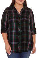 Boutique + + Long Sleeve Plaid Button-Front Shirt-Plus