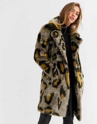 Urban Code Urbancode coat in leopard faux fur-Brown