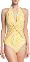 MICHAEL Michael Kors Deep-V Halter Ruched One-Piece Swimsuit, Yellow Pattern