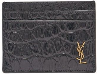 Saint Laurent plaque Crocodile-embossed Leather Cardholder - Black