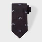 Paul Smith Men's Black Bike Pattern Silk Tie