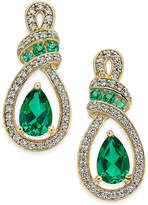 Macy's Emerald (5 ct. t.w.) and Diamond (1/4 ct. t.w.) Drop Earrings in 14k Gold
