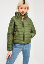 Missguided Khaki Padded Concealed Hood Coat