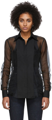 Helmut Lang Black Sheer Tux Shirt