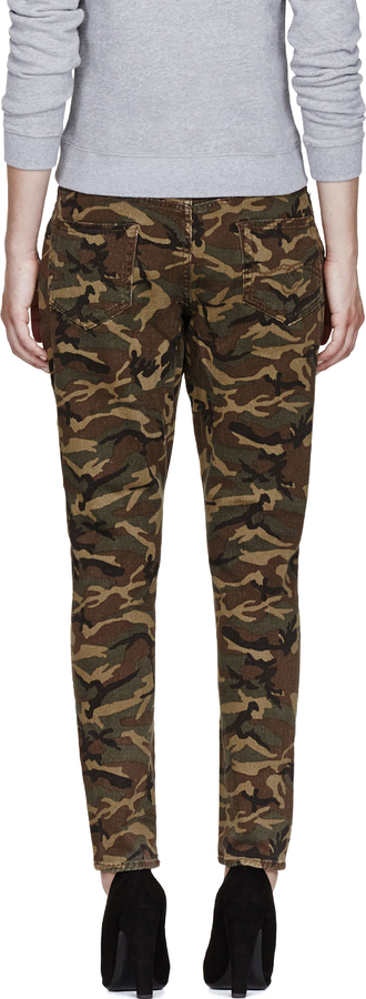 R 13 Khaki Camouflage X-Over Jeans